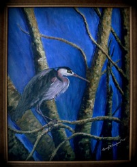 Blue Heron - acrylic on canvas